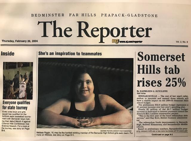 Newspaper image with Melissa Riggio